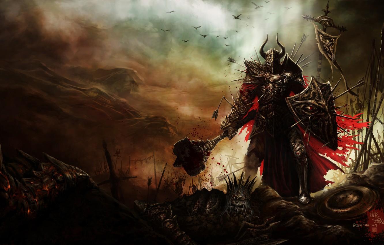 Photo wallpaper field, skull, armor, hammer, art, shield, battle, diablo 3, spears, barbarian