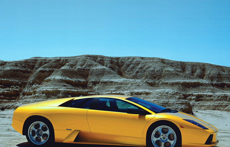 Photo wallpaper mountains, supercar, lamborghini, side view, murcielago, Lamborghini