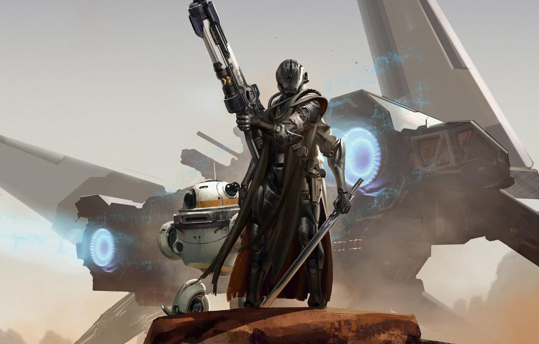 Photo wallpaper weapons, fiction, ship, robot, armor, Sci-Fi