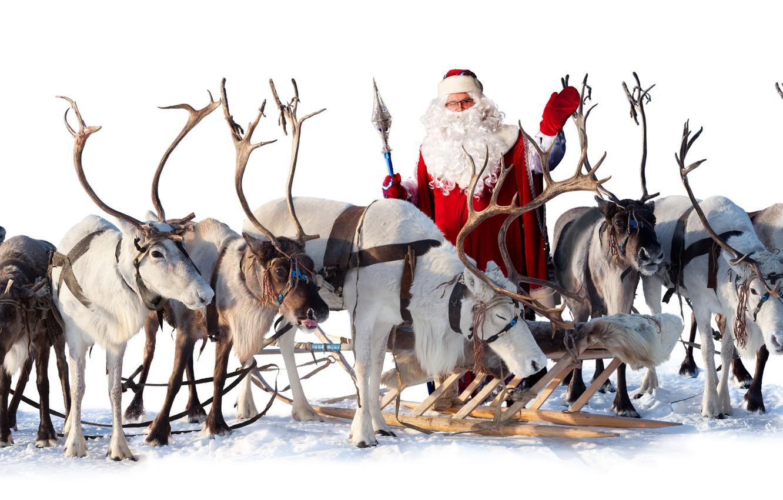 Photo wallpaper sleigh, Santa Claus, deer
