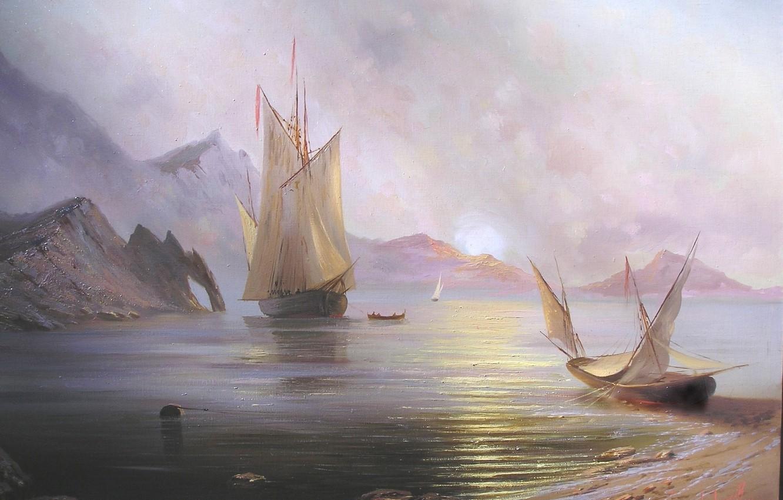 Photo wallpaper sea, the sun, landscape, mountains, dawn, ship, beauty, boats, sail, Crimea, Miliukov Alexander, Dawn of …
