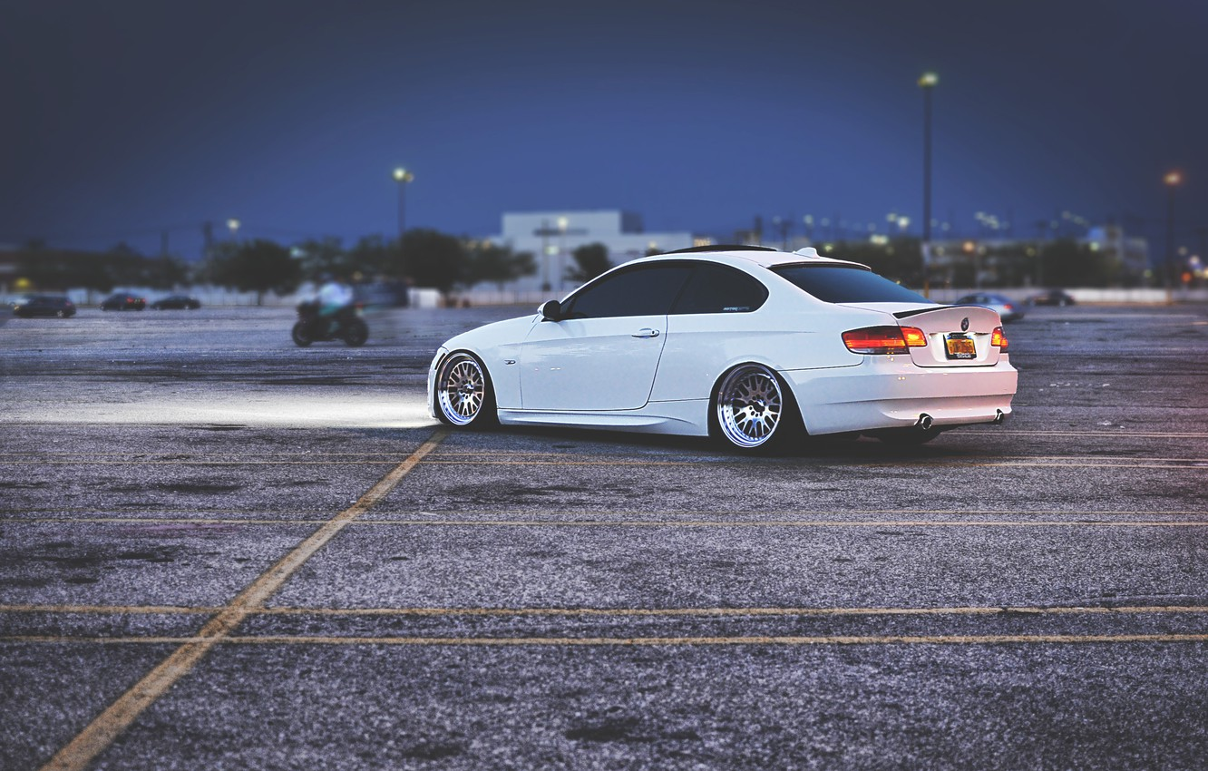 Photo wallpaper The evening, BMW, Tuning, White, BMW, Drives, White, E92, Stance