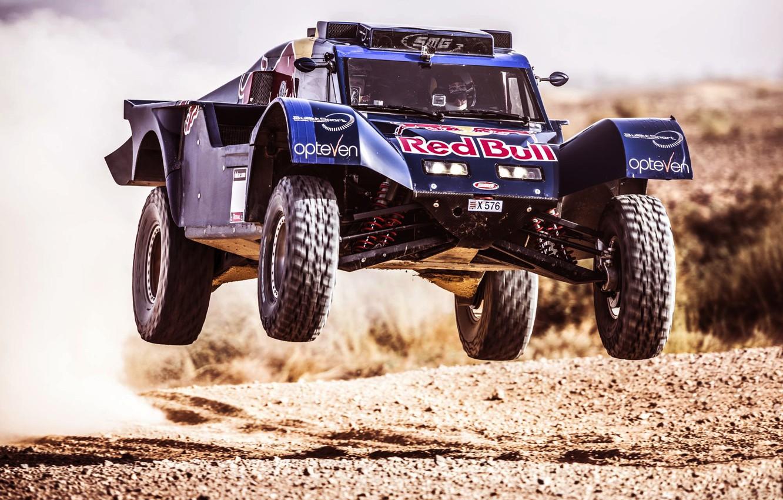 Photo wallpaper Sport, Machine, Speed, Race, Red Bull, Rally, Dakar, Buggy, Flies