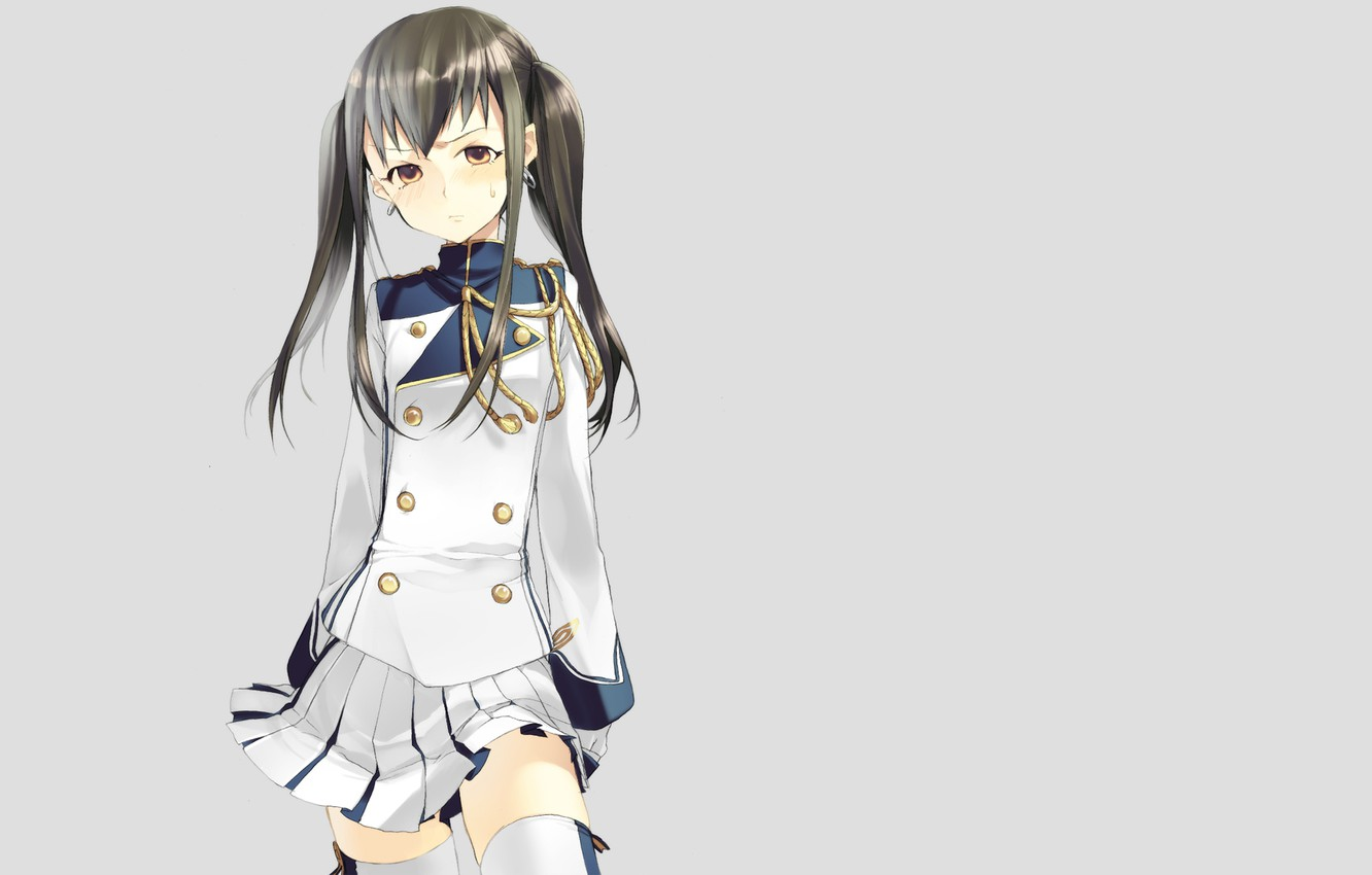 Photo wallpaper look, girl, minimalism, uniform, simple background