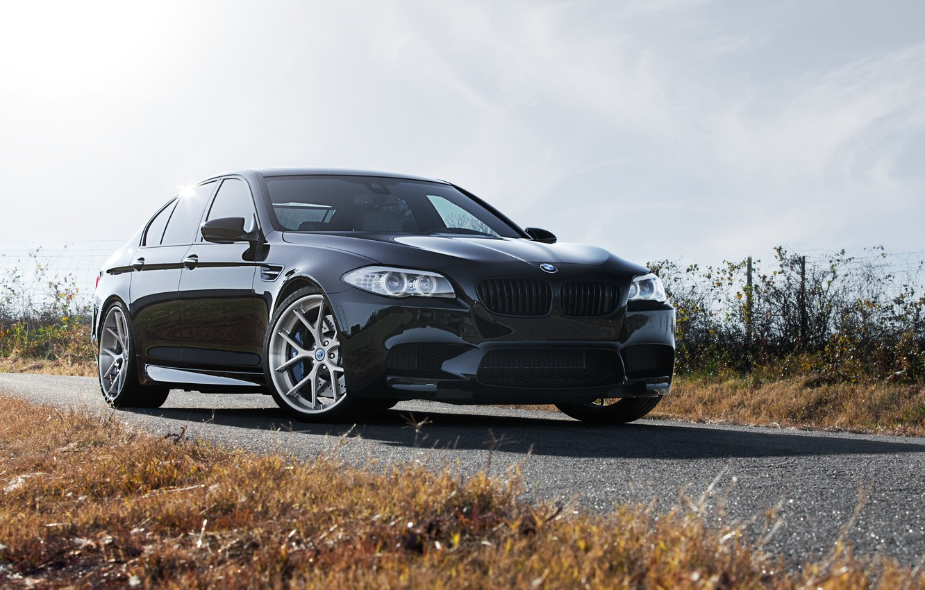 Photo wallpaper the sky, clouds, black, BMW, BMW, black, front view, f10