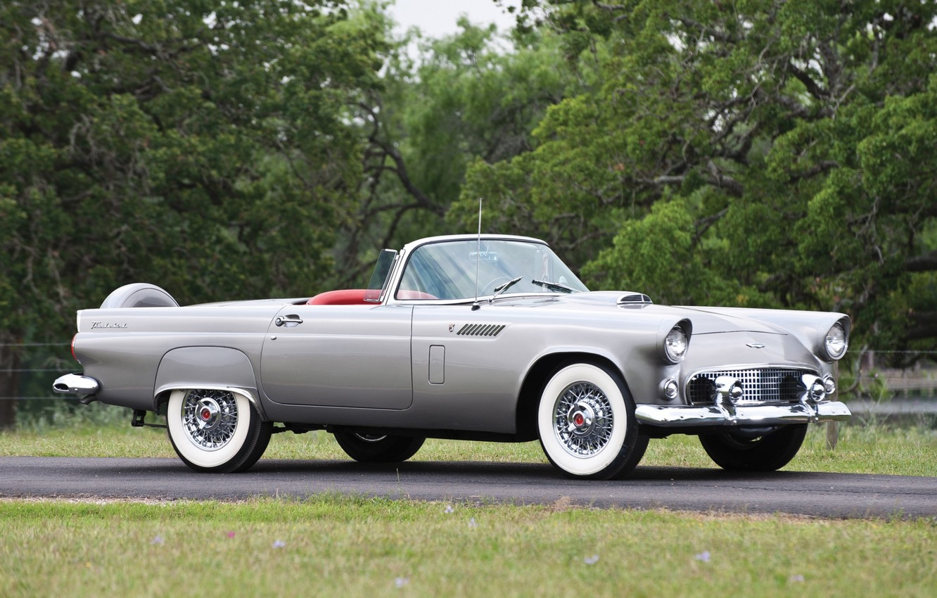 Photo wallpaper road, grass, trees, Ford, Ford, convertible, classic, the front, 1956, Thunderbird, Tendered