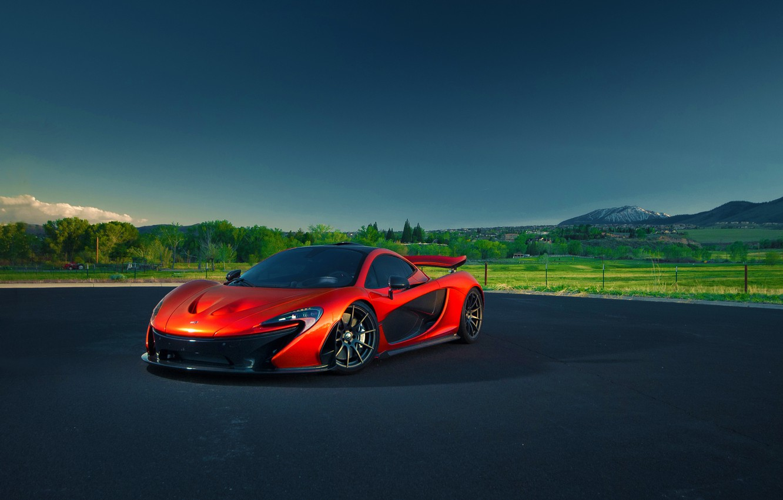 Photo wallpaper McLaren, Orange, Nature, Sky, Blue, Front, Summer, Supercar, Hypercar, Exotic