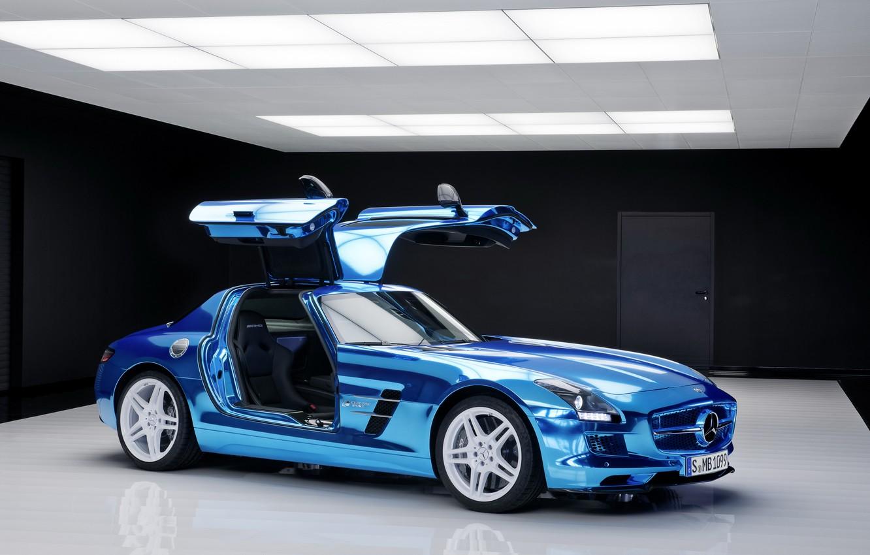 Photo wallpaper car, blue, door, Mercedes, Mercedes, Benz, cars, AMG, SLS, blue, electric, drive, salon.