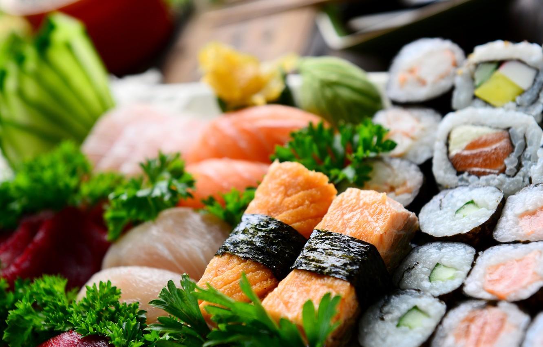 Photo wallpaper fish, rolls, sushi, sushi, fish, rolls, Japanese cuisine, parsley, Japanese cuisine, parsley