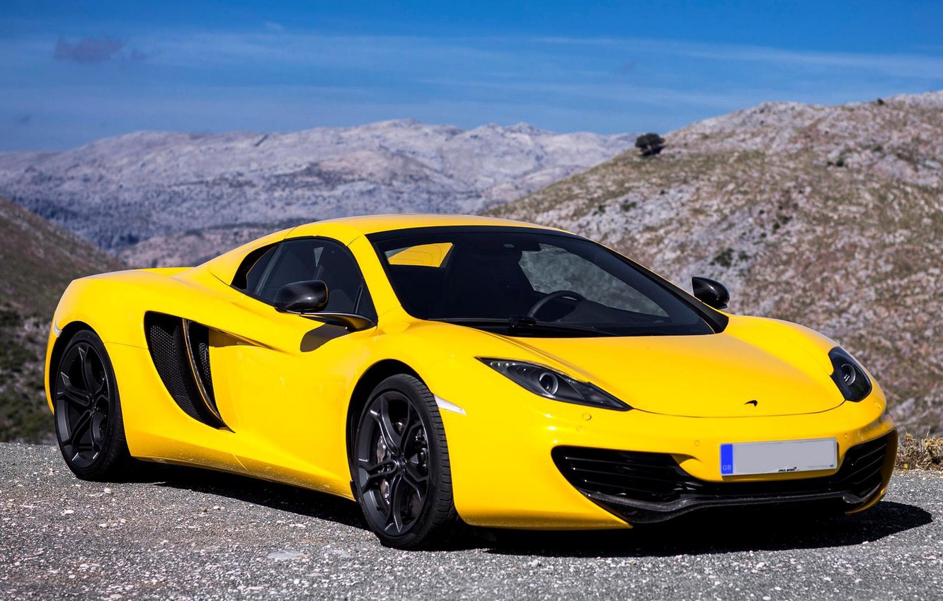 Photo wallpaper McLaren, Yellow, Machine, McLaren, Car, 2012, Car, Spyder, MP4-12C, Wallpapers, Yellow, New, Beautiful, Wallpaper, Spider