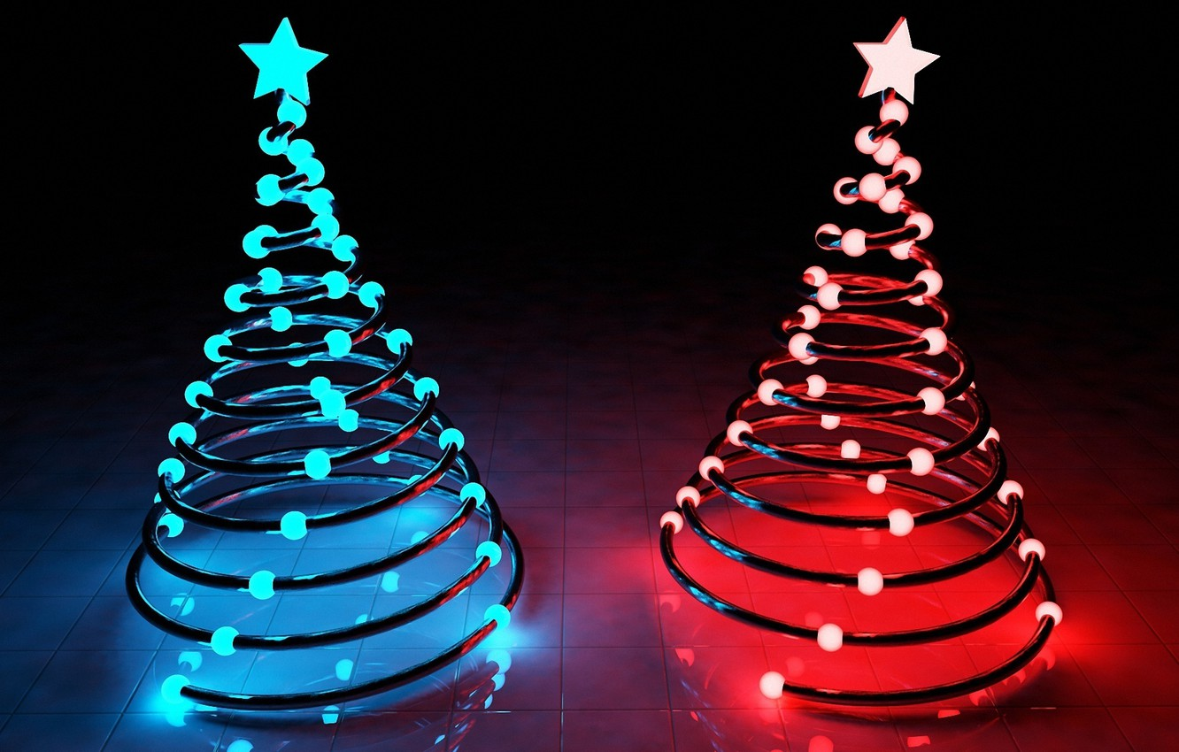 Photo wallpaper stars, light, blue, red, lights, holiday, tree, new year, new year, Christmas trees, merry christmas, …
