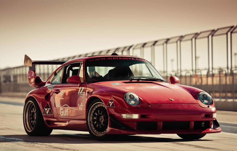 Photo wallpaper red, porsche, Porsche, track, gemballa, 993, gt600