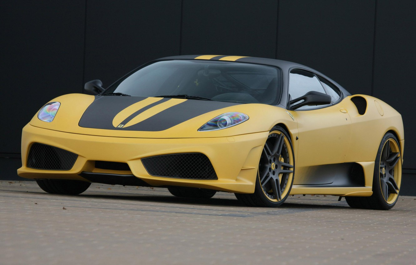 Photo wallpaper Road, Machine, Yellow, Ferrari, F430 Scuderia 747 Edition