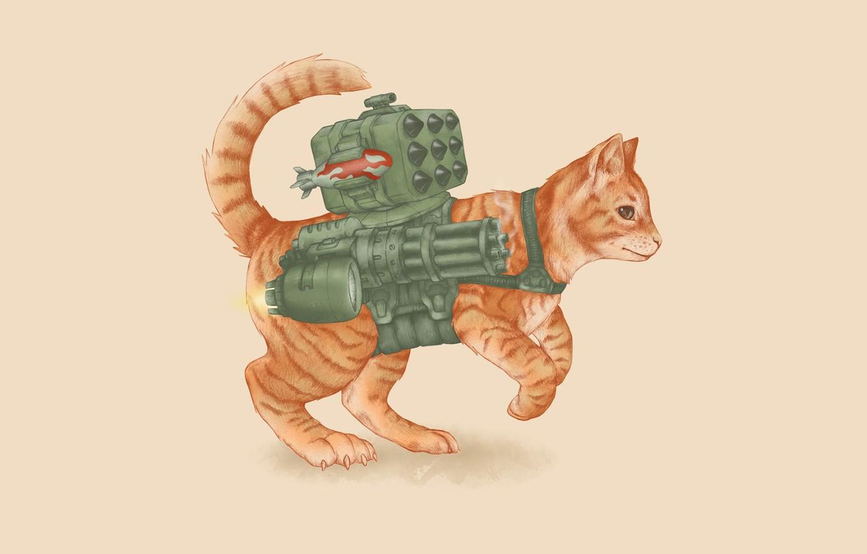 Photo wallpaper cat, weapons, rocket, gun