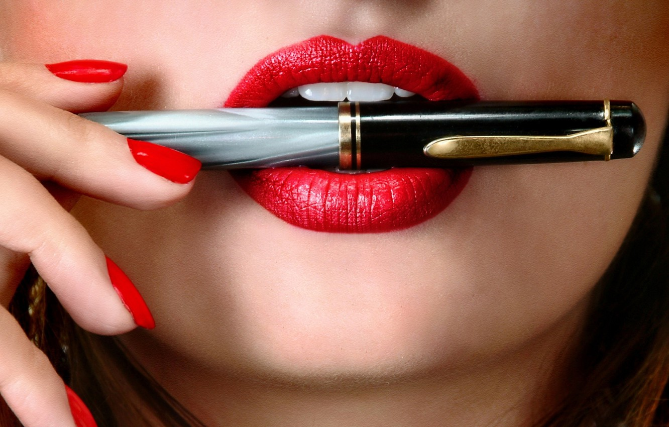 Photo wallpaper lips, pen, makeup