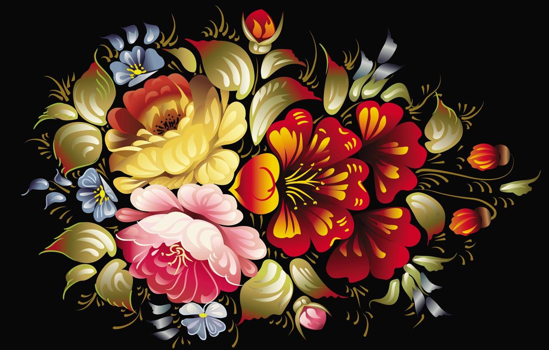 Photo wallpaper flowers, pattern, figure, petal, painting, Khokhloma