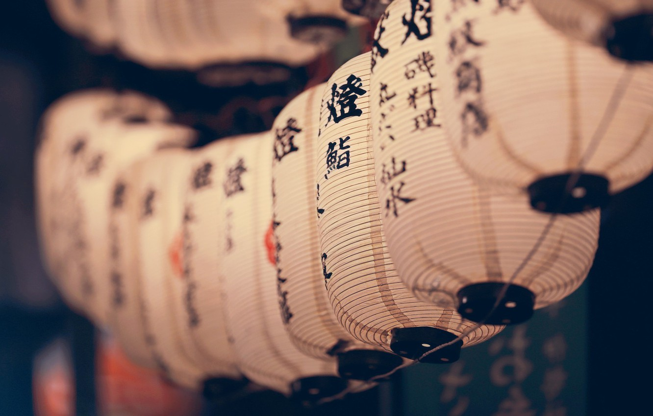 Photo wallpaper macro, characters, a number, Chinese lanterns