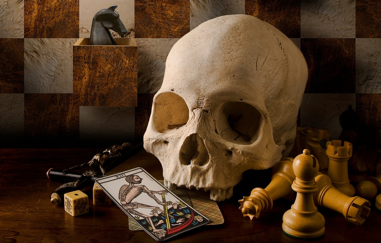 Photo wallpaper card, style, retro, skull, chess, vintage, crucifix, Tarot