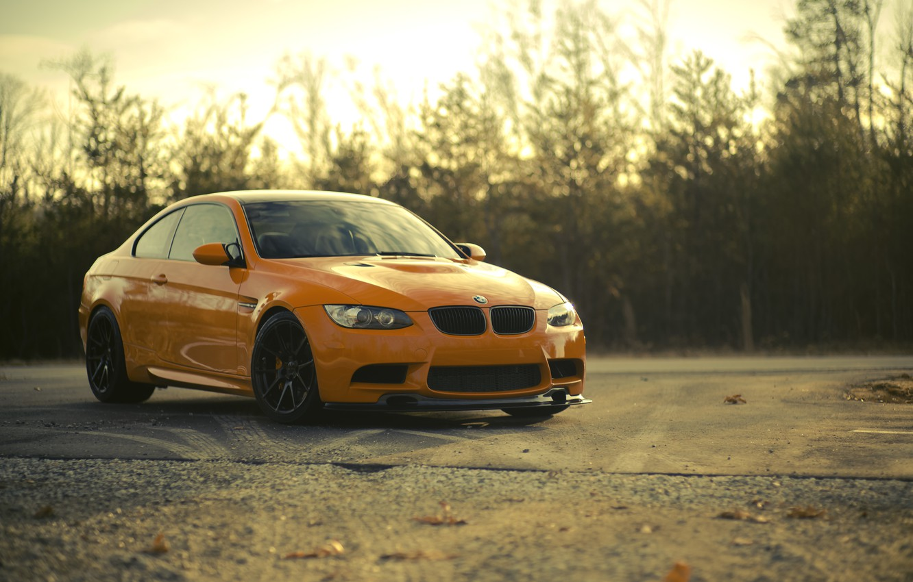 Photo wallpaper the sky, clouds, trees, sunset, orange, BMW, BMW, front view, trees, sunset, orange, e92
