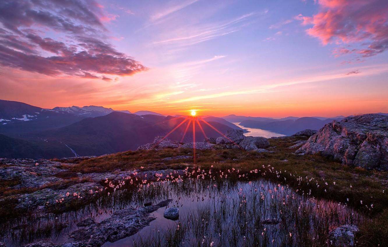 Photo wallpaper the sky, the sun, landscape, sunset, mountains, nature