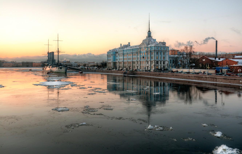 Photo wallpaper morning, Saint Petersburg, Aurora, cruiser