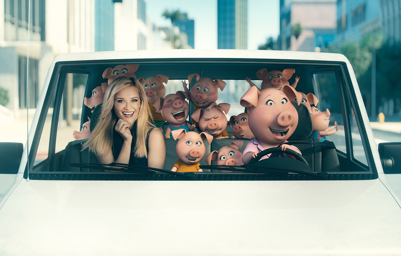 Photo wallpaper car, city, cinema, movie, blonde, film, pig, Reese Witherspoon, Rosita, Sing, animayed film