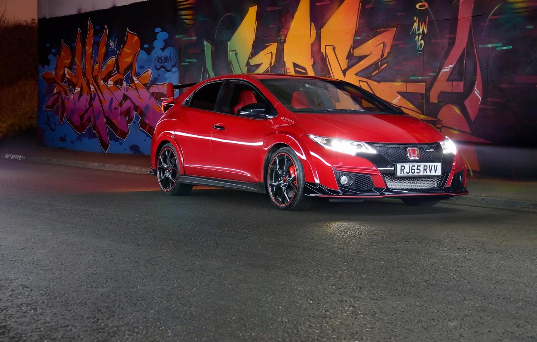 Photo wallpaper Red, Honda, Civic, Type