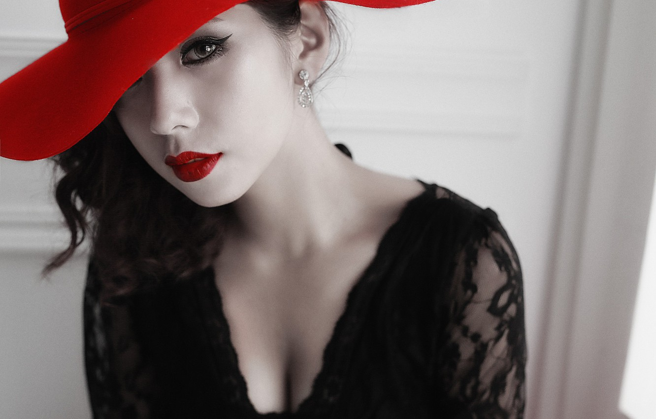 Photo wallpaper eyes, look, girl, face, style, hat, lipstick