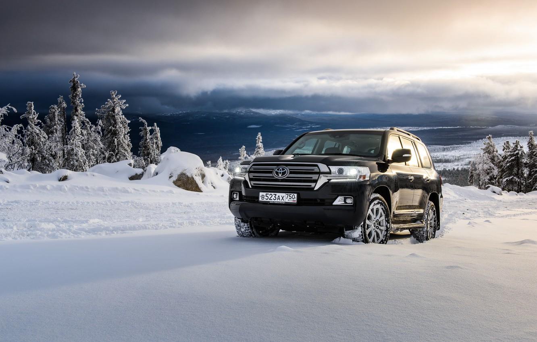 Photo wallpaper snow, black, SUV, Toyota, Black, Toyota, land cruiser, Land Cruiser 200