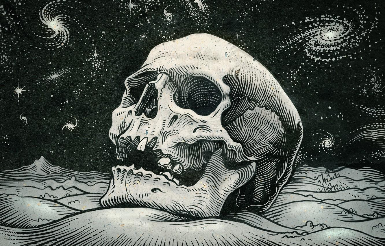 Photo wallpaper space, stars, skull, sake
