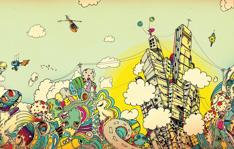 Photo wallpaper clouds, the city, paint, art, Apostolescu, Matei