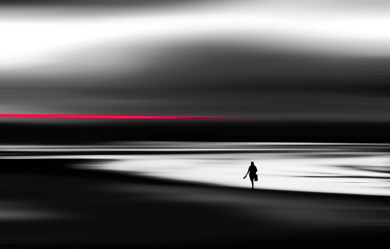 Photo wallpaper beach, silhouette, Red line