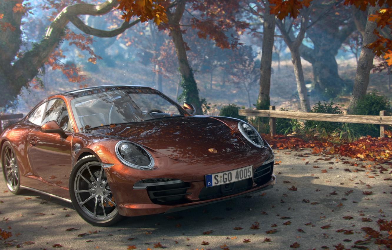 Photo wallpaper road, machine, autumn, leaves, trees, art, Cayman, Porsche, Porshe