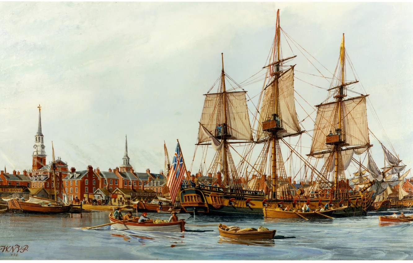 Photo wallpaper the city, Marina, ships, picture, painting, painting