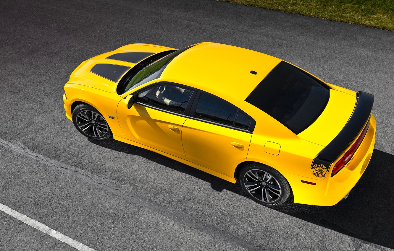 Photo wallpaper Auto, Yellow, Dodge, Asphalt, Dodge, SRT8, Charger, The view from the top, Super Bee