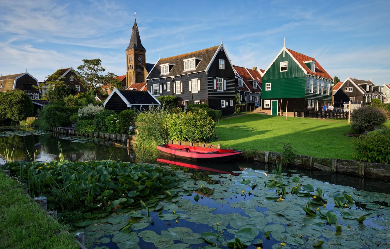 Photo wallpaper pond, boat, home, Netherlands, Marken