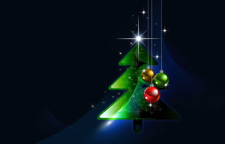 Photo wallpaper holiday, balls, tree