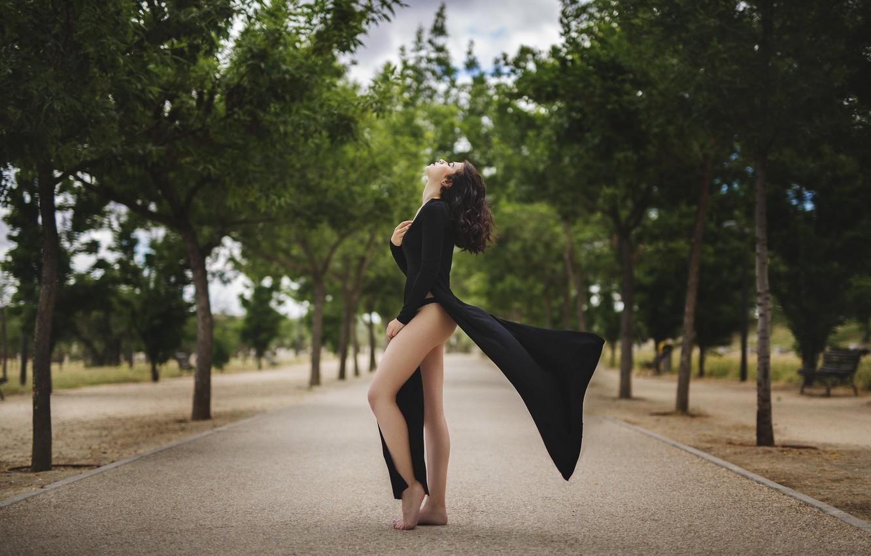 Photo wallpaper girl, trees, face, hair, panties, dress, black, profile, legs