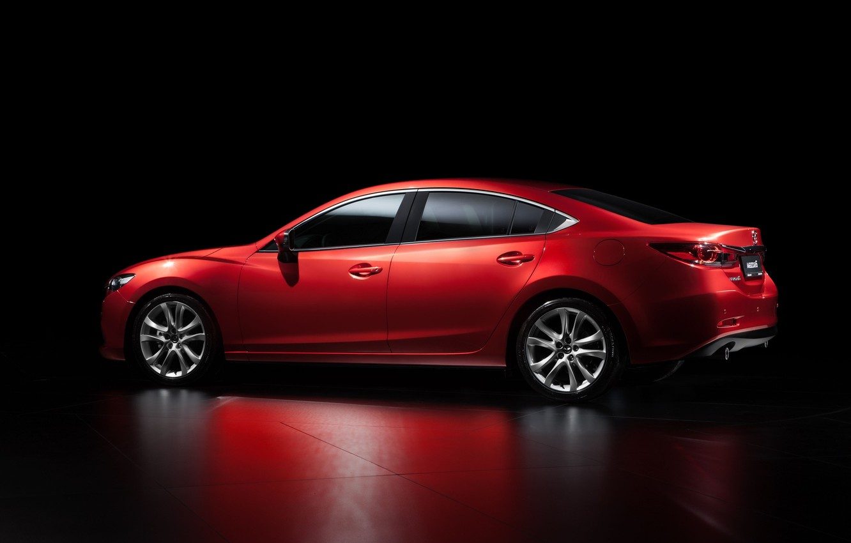 Photo wallpaper Red, Reflection, Auto, Mazda, Car