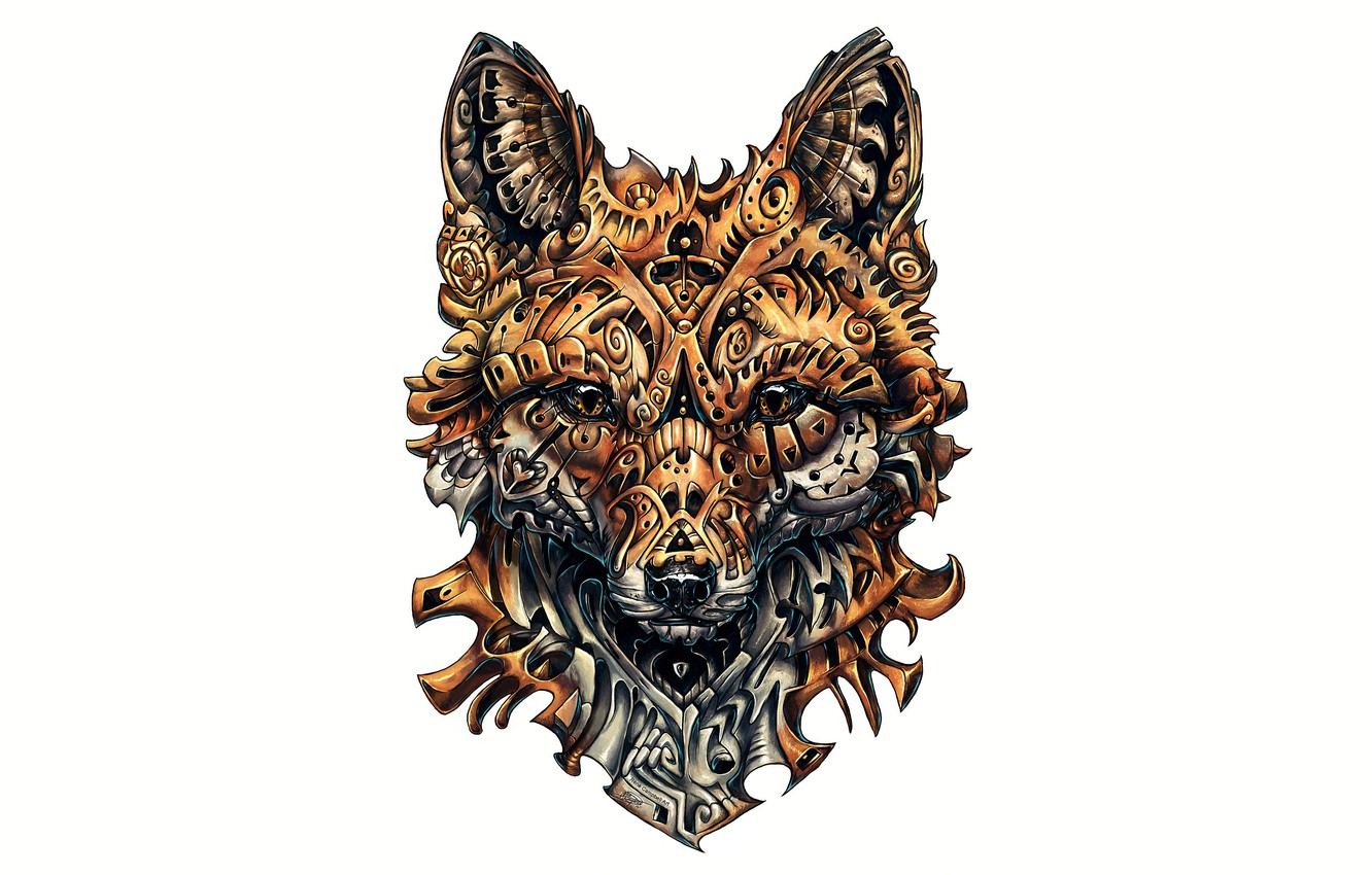 Photo wallpaper fox, design, drawing, complicated