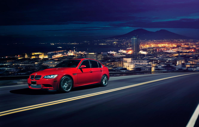 Photo wallpaper the city, BMW, horizon, red, front, Sedan, E90, Ronaldo Stewart
