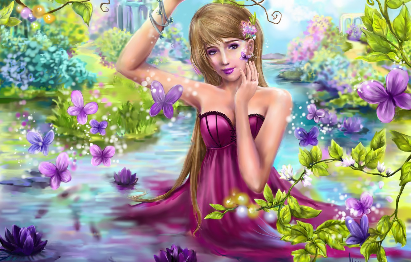 Photo wallpaper summer, look, leaves, girl, trees, butterfly, flowers, nature, fiction, waterfall, hand, dress, art, water lilies