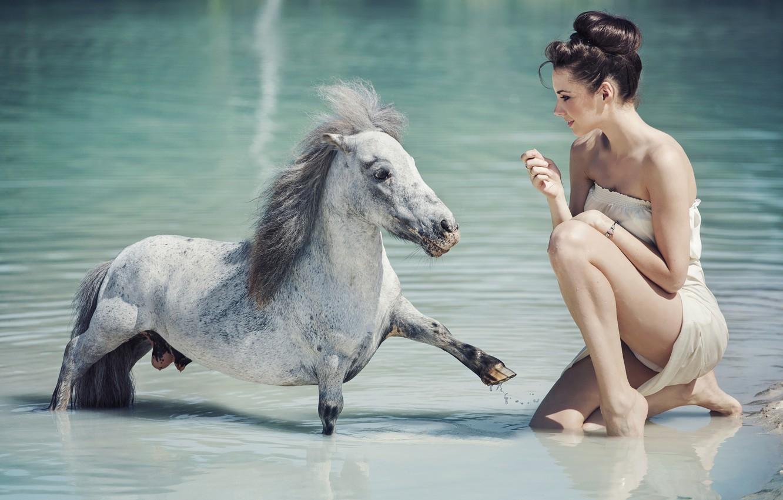 Photo wallpaper water, girl, mood, pony, horse, konarka