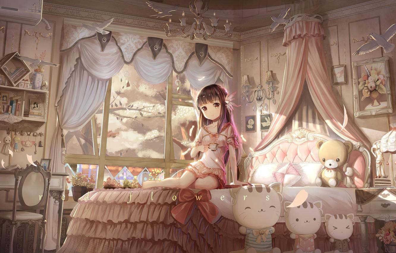 Photo wallpaper girl, trees, smile, room, toys, bed, anime, Sakura, art, red flowers