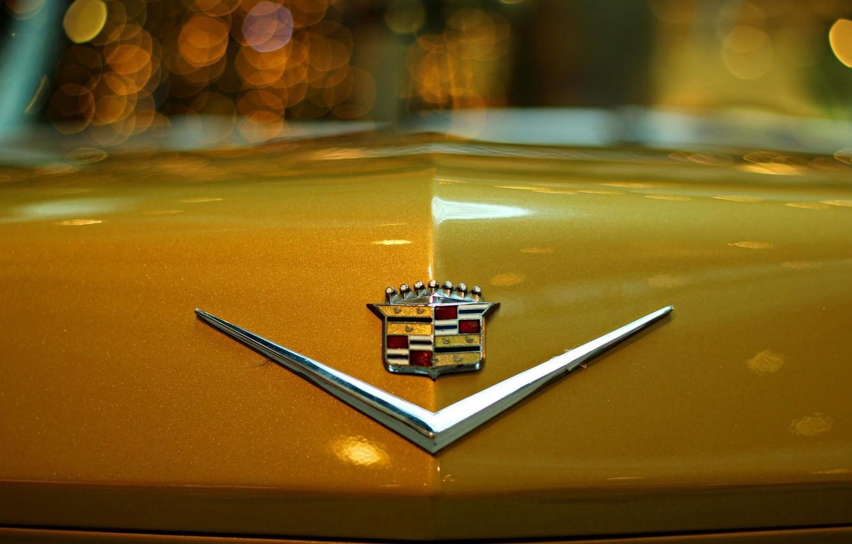 Photo wallpaper Cadillac, the hood, emblem, Cadillac