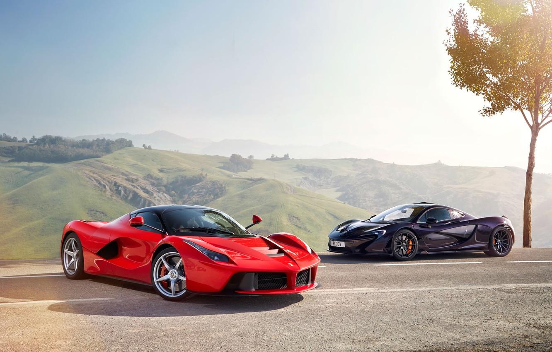 Photo wallpaper McLaren, Ferrari, Red, Sky, Power, Front, Black, Sun, Supercars, Road, LaFerrari, Lead, Moutian