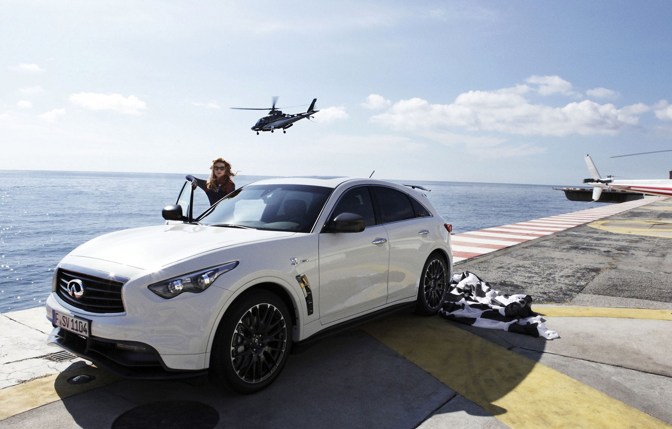 Photo wallpaper the sky, girl, wheel, helicopter, infiniti, fx50, hatchback, quote, vettel edition