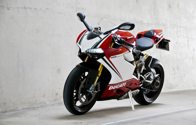 Photo wallpaper white, wall, motorcycle, wall, white, bike, ducati, Ducati, supersport, 1199