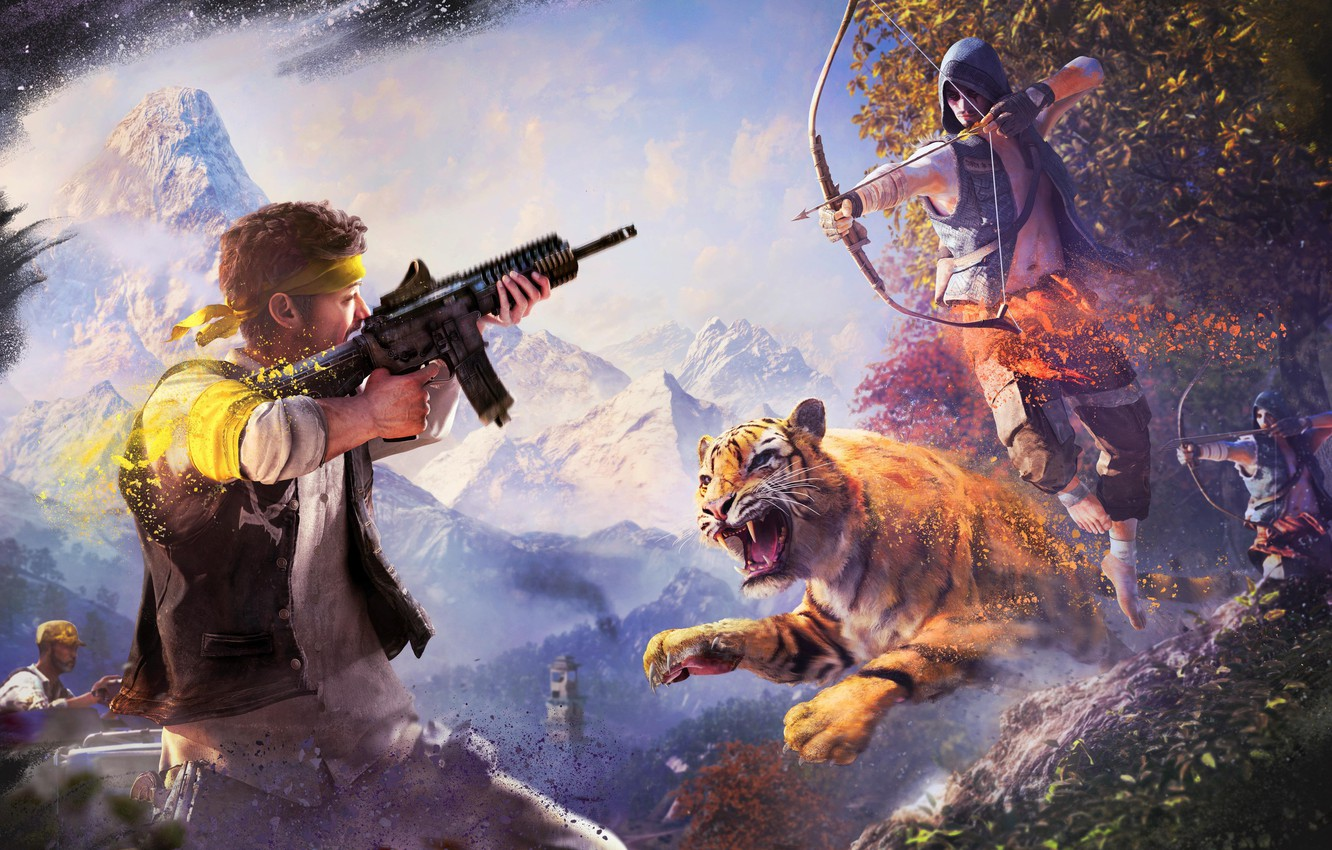 Wallpaper The Sky Clouds Mountains Tiger Trees Snow Bow Weapons Paint Tiger Ubisoft Arrow Far Cry 4 Kyrat The Golden Path Rakshasas Images For Desktop Section Igry Download