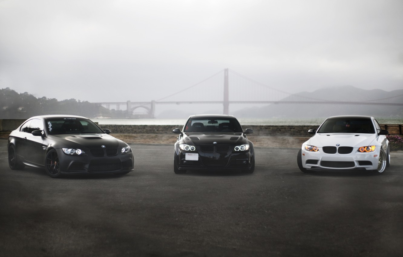 Wallpaper White Bridge Fog Black Bmw Bmw Coupe White Sedan Black Front View Bridge E92 E90 Golden Gate Matte Black Images For Desktop Section Bmw Download